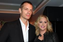 Joel Kinnaman with Swedish singer Viktoria Tocca, in LA for the Hollywood Music in Media Awards gala.