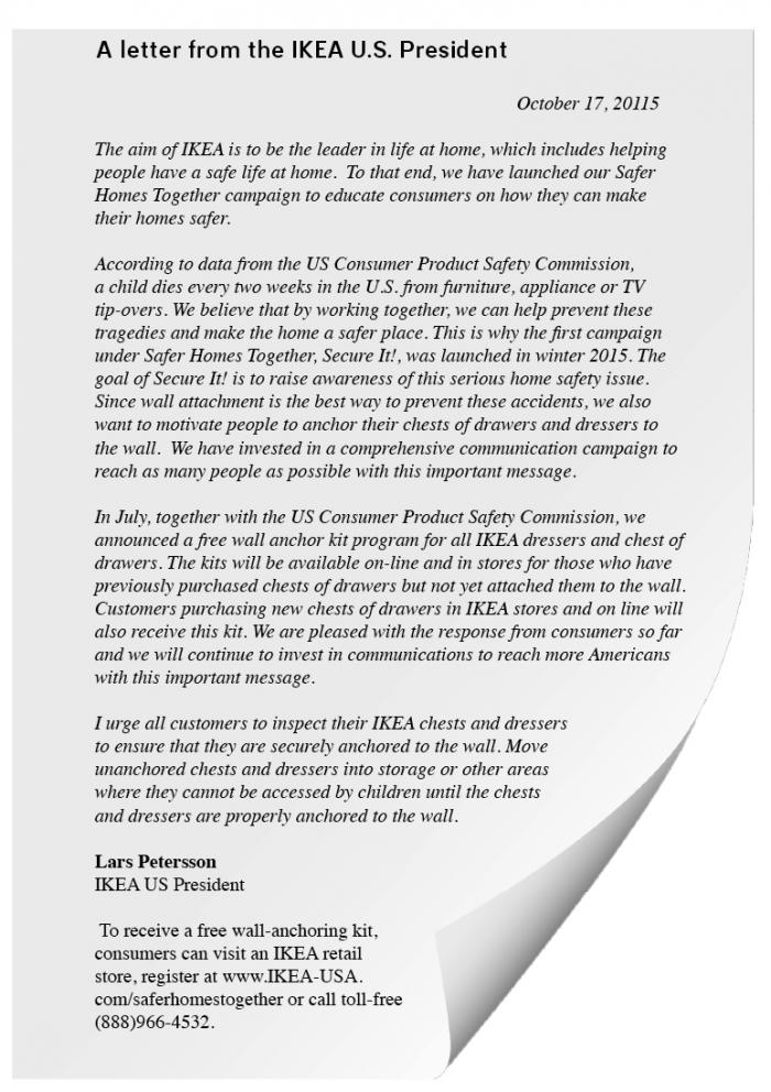 Response From Lars Petersson Ikea U S President